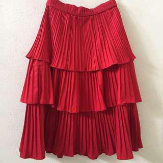 Basic Movement Red Ruffle Midi Skirt