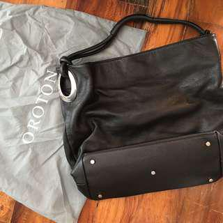 Oroton Kiera Large Black Leather Bag
