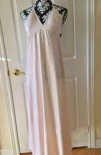 COOGI White Logo Print Stretch Silky Tie Halter Long Maxi Dress Size Medium