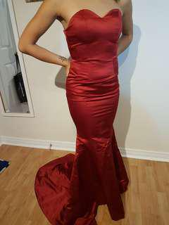 Elegant deep red satin mermaid gown