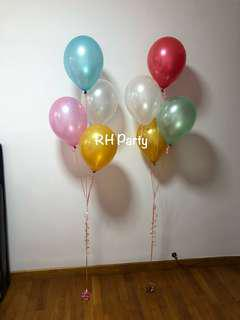 (12/9) Helium Latex balloon Bouquet (carribean blue , baby pink , gold , white, red , pale green theme)