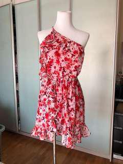 Mango One Shoulder Floral Dress