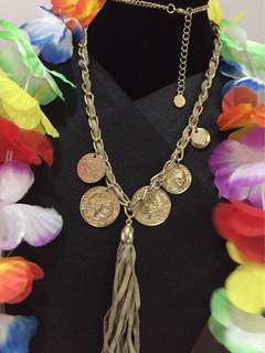 Faux coins long necklace