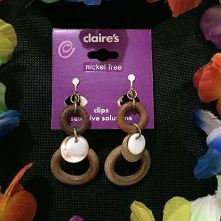Wood Loop Dangling Earrings