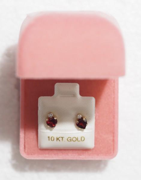10K Yellow Gold Garnet & Cubic Zirconia Heart Shaped Earrings