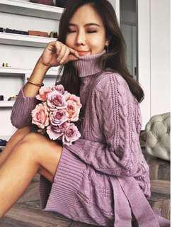 🚚 轉賣*scrappy Koko store綁帶麻花高領洋裝-售紫色