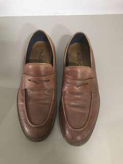ALDO tanned brown slip on men loafer casual smart shoes