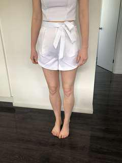 New with tags white silky shorts