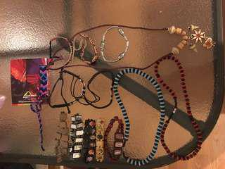Religious and beach style jewellery.