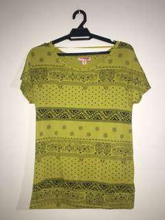 Tribal Green Yellow Shirt