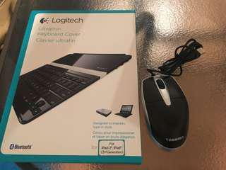 IPad keyboard and cover plus toshiba mouse
