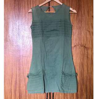 Boutique-bought Green Dress with Pleat Details