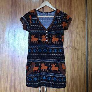Knit-style shift dress