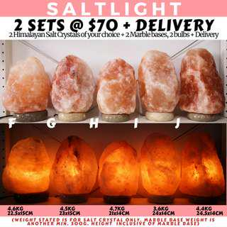 🚚 AUTHENTIC HIMALAYAN SALT CRYSTAL LAMPS | 2 FULL SETS WITH MARBLE BASE AND BULB FOR $70 WITH HOME DELIVERY