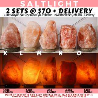 🚚 AUTHENTIC HIMALAYAN SALT CRYSTAL LAMPS | 2 FULL SETS WITH MARBLE BASE AND BULB FOR $70 WITH HOME DELIVERY | CLEANSE & PURIFY | NATURAL ANTIBACTERIAL PROPERTIES | SOOTHING WARM GLOW HELPS TO RELAX | COUNTER EMF RADIATION