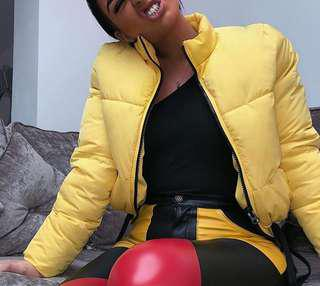 Yellow H&M bomber jacket XS
