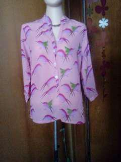 pink bird blouse