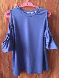 cold shoulder off shoulder purple
