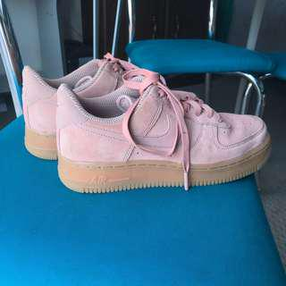 Pink Suede Nike Air Force 1's Size 8