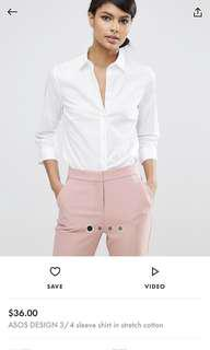 ASOS 3/4 stretch white shirt