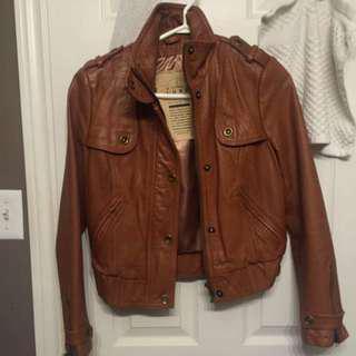 Cognac Leather Jacket S