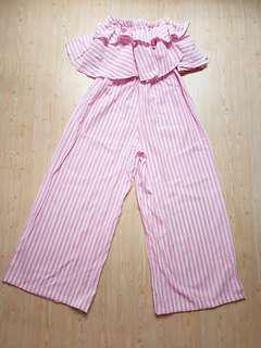 Brand new pink strip tube tank jumpsuit
