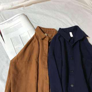 LALAU駝色長版襯衫