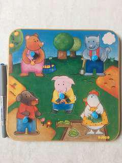 Djeco 5-Piece Wooden Peg Puzzle - Animal Friends