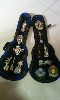 Hard Rock Cafe guitar pins lot with guitar case