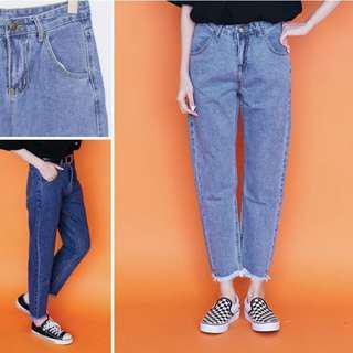 🚚 中腰單釦水洗寬鬆直筒牛仔褲