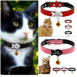 Cat Collar Customized Engraving Pet ID Fish Tag Pendant W/Bell For Kittens & Cats