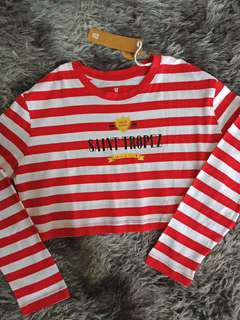 Promo A : red sailor striped top