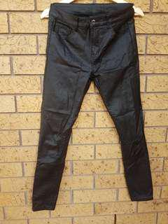 black waxed skinny jeans with fleece