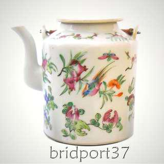 """Early 20thC famille rose tall cylindrical teapot/kettle 5-3/8"""" tall 民国初广彩提梁壶"""