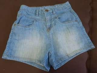Cotton On Blue High Waisted Denim Shorts
