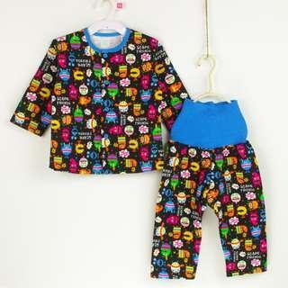 日單長袖護肚兒童家居服套裝 小怪獸款