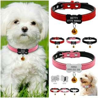 Customized Engraving Pet ID Bone Tag Pendant Collar W/Bell For Puppy & Medium Dogs
