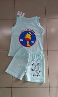 T shirt set sleeveless 1-5years giraffe water green #RM10