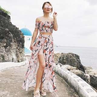 Floral Top + Skirt Set