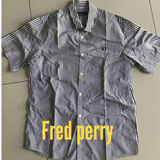 Fred Perry short sleeves button stripe casual smart shirt