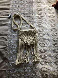 crochet fringe boho sling bag