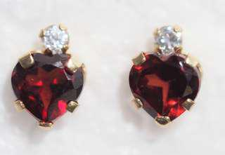 10K Yellow Gold Garnet & Cubic Zirconia Heart Shaped Earrings