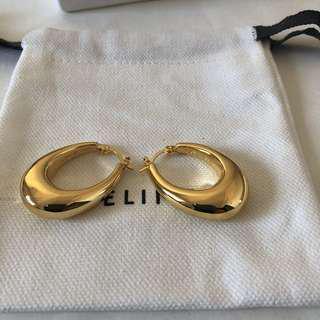 ALICE SELECT 歐美復古 vintage 橢圓金色 古董耳環 不掉色 Celine