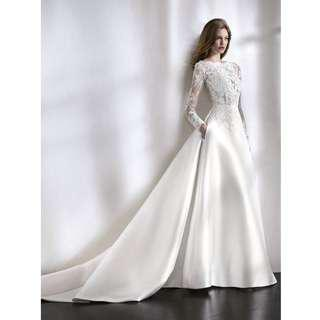 Wedding Collection - Sweet Long Lace Sleeves Elegance Satin Material Ponytail Wedding Gown
