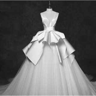 Wedding Collection - Sleeveless V Neck Satin Soft Puffy Long Tail Wedding Gown