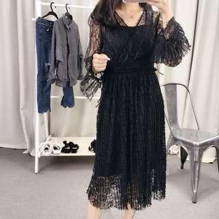 Sexy black lace dress with separate slip