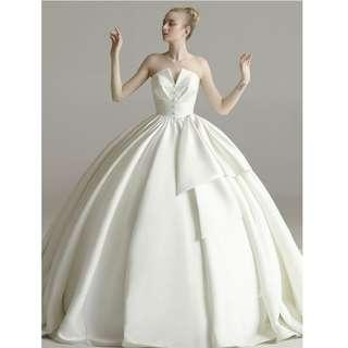 Wedding Collection - Smooth Satin Tube V Shape Design Puffy Long Tail Wedding Gown