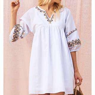 BNWT BNIB The Closet Lover Aramie Pinstriped Embroidered Dress