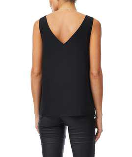 Sportsgirl Black Sleeveless Top With V Back