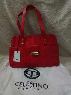 Tas wabita Celestino hand women branded bag merah kulit asli genuine leather